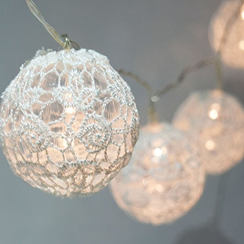 MoonBright 10 LED White Round Lace Fabric Ball String Light, 5.5 FT, Battery Operated by PaperLanternStore (Lace Lantern)