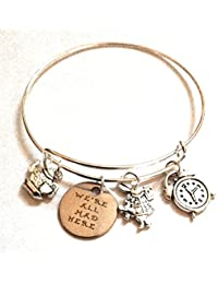 """Alice in Wonderland Inspired """"We are all Mad Here"""" Charm Bangle Bracelet"""
