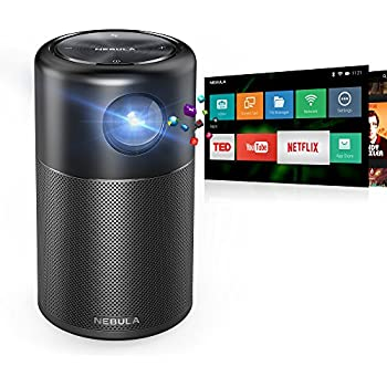 """Nebula Capsule Smart Pico Projector, by Anker, Portable 100 ANSI lm High-Contrast Pocket Cinema with Wi-Fi, DLP, 360° Speaker, 100"""" picture, Android 7.1, 4-Hour Video Playtime, and App"""