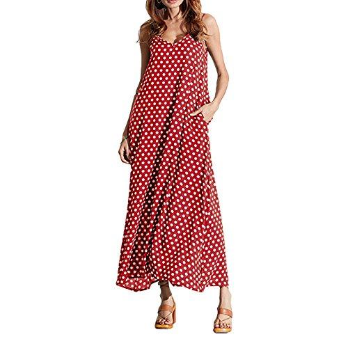 Romacci Women V Neck Polka Dot Spaghetti Strap Dress Boho Beach Long Maxi Dresses Burgundy ()