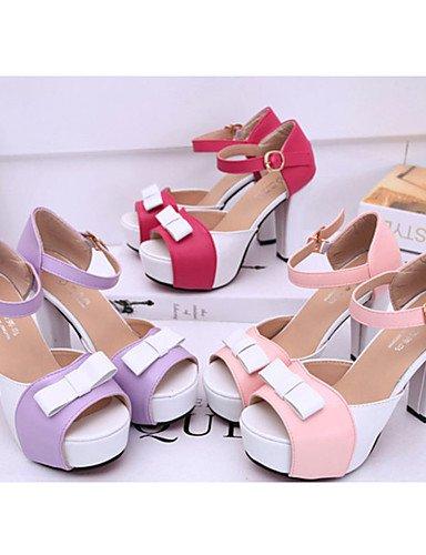 GGX/ Damen-High Heels-Lässig-PU-Blockabsatz-Absätze-Rosa / Lila / Rot purple-us6 / eu36 / uk4 / cn36