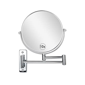 Wall Mount Makeup Mirror 8 Inch 10x Magnification Two Sided Swivel  Extendable Bathroom Mirror