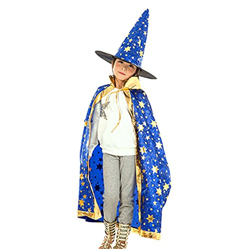 [8haohuo Unisex Child Halloween Costumes Witch Wizard Cloak Hat Suit Festival Prop (Blue)] (Unisex Halloween Costumes)