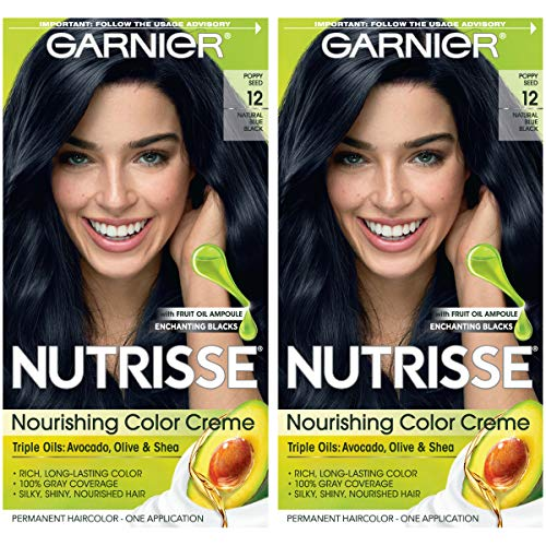 Garnier Nutrisse Nourishing Permanent Hair Color Cream, 12 Natural Blue Black (2 Count) Black Hair Dye (Best Professional Blue Black Hair Dye)