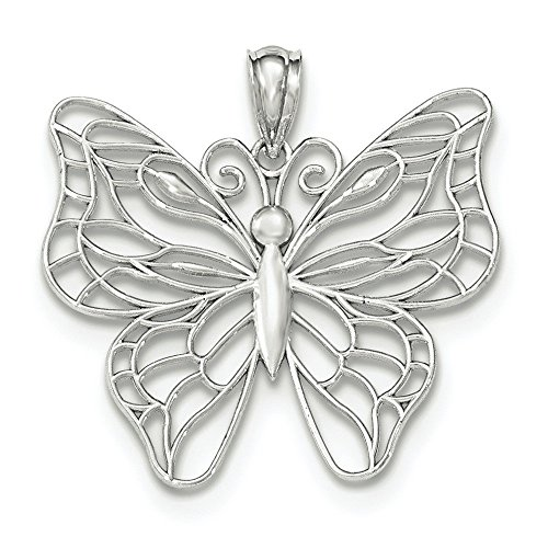 Or blanc poli 14 carats Papillon Pendentif Grand JewelryWeb