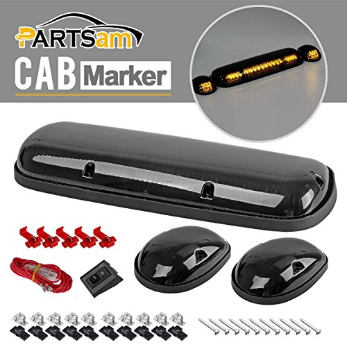 Partsam 3PCS Smoke Cover Amber 30 LED Cab Marker Light Roof Running Top Lights for 2002-2007 Chevrolet Silverado 1500 1500HD 2500 2500HD 3500, 2002-2007 GMC Sierra 1500 1500HD 2500 2500HD 3500 Trucks