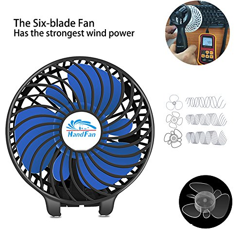 HandFan Portable Handheld Fan, Mini Hand Fan/Small Desk Fan Folding Change 5-18 Hours Working Time Personal Fan Rechargeable Battery/USB Operated Electric Fan Handle is 5200mA Power Bank(Power Black) by HandFan (Image #4)