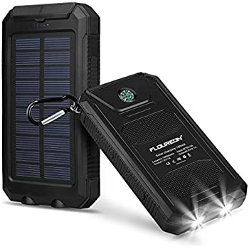 FLOUREON 10000mAh Solar Charger Power Bank Waterproof Portable External Battery Backup with Dual USB for Android iPad iPhone Cellphones, 2 LED Flashlight with Compass for Emergency(Black)