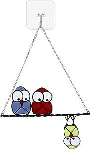 Stained Glass Window Hangings SuncatcherZinc Alloy Custom Owls Home Garden Decor Birthday Gifts(Style-2)