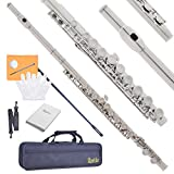 #3: Apelila Flutes - 16 Closed Hole Silver Nickel Plated C Key Flute with Care Case, Cork Grease, Cleaning Cloth, Strap, Cleaning Stick, Screwdriver, Gloves