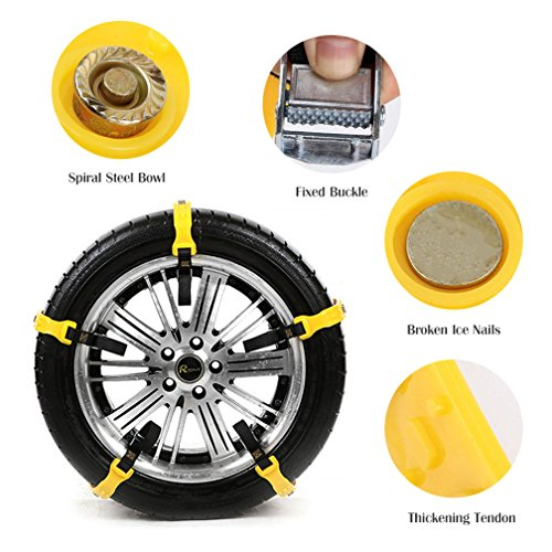 Mayper Tire Chains Snow Chains for Car/SUV/Trucks/ATV Anti-Skid Emergency Snow Tire Chains Adjustable Car Security Chain for Snow Ice Mud Width:185-295mm/7.2-11.6'' by Mayper (Image #5)