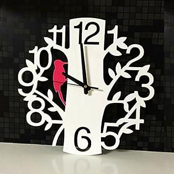 Home Decoration Vintage reloj de pared Hallow Out Birds 5D Silent Art Watch Wall Relogio de