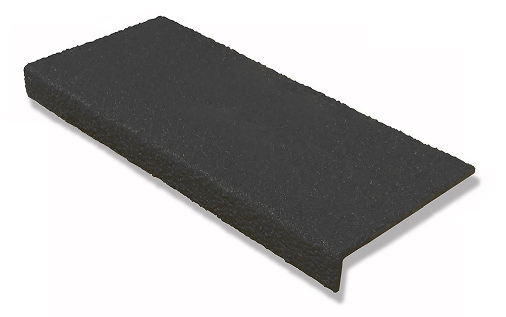 Safeguard Technology SVSHN-BLK-30x9x1 Valu-Traction Anti-Slip Step Cover, Pultruded FRP Composite, Heavy-Duty Grade Quartz Grit, 30'' x 9'' x 1'', Black