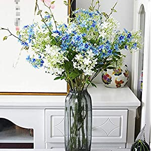 Skyseen 6PCS Artificial Flowers Evening Primroses Fake Cordate telosma Plant for Home Decor(3pcs Blue+3pcs White) 2