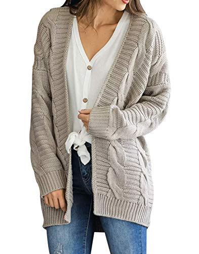 Omoone Womens Long Sleeve Open Loose Cable Knit Solid Sweater Cardigan Outerwear Grey