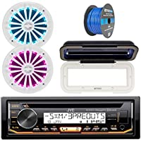 JVC In-Dash Marine Boat Bluetooth Radio USB CD Receiver Bundle, Cover with pair Enrock 6.5 White Stereo Speakers, 18g 50ft Marine Speaker Wire