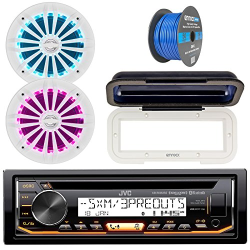 Jvc In Dash Marine Boat Bluetooth Radio Usb Cd Receiver Bundle  Cover With Pair Enrock 6 5  White Stereo Speakers  18G 50Ft Marine Speaker Wire