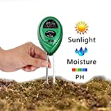 PH Soil Meter 3-in-1 Soil Tester Kit Moisture Soil Meter with Light PH & Acidity Meter Gardening Tools for Plant Lawn Farm IndoorOutdoors to Use Easy Read Indicator (No Battery needed)