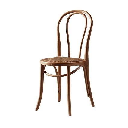 Amazoncom Lrzs Furniture Retro Wooden Rattan Chair Backrest