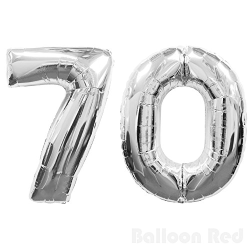 Number 70 Giant Jumbo Helium Foil Mylar Balloons, 40 inch, Glossy Silver, Premium Quality, for 70th Birthday Party