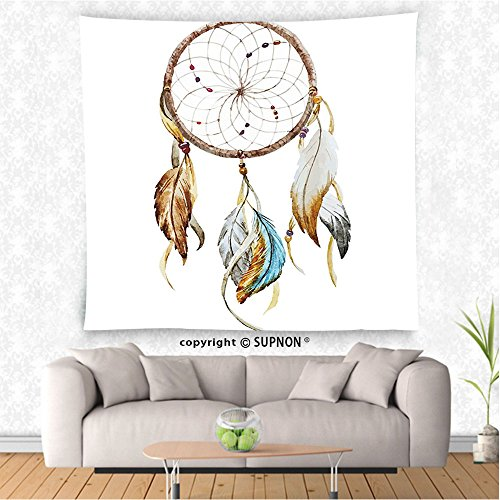 VROSELV custom tapestry Feather House Decor Tapestry Boho Dream Hoop with Spider Web Knitting Legendary Protective Charm Design Wall Hanging for Bedroom Living Room Dorm Multi