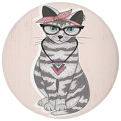 Round Rug Mat Carpet,Teen Room Decor,Stylish Kitty Cat with Glasses Tribal Necklace Clasp Fashion Design Decorative,Light Pink Grey,Flannel Microfiber Non-slip Soft Absorbent,for Kitchen Floor ()