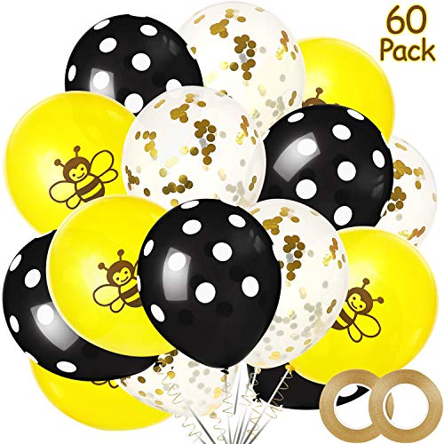 Happy Bee Day Balloons Decorations Kit, Includes 60 Pieces Latex Bumblebee Balloons Dots Confetti Balloons and 2 Pieces Gold Ribbon for Baby Shower Parties Favors