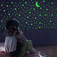 Glow in The Dark Stars and Moon, Realistic No Dots No Squares Set. 338 Star Shaped Stickers and Moon, Luminous Adhesives for