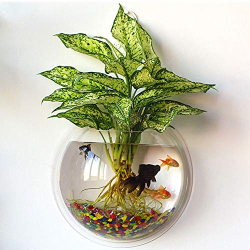 kathson Home Decoration Pot Wall Hanging Mount Bubble Aquarium Bowl Fish Tank Aquarium(White,7.2in H:3.3in) (White)