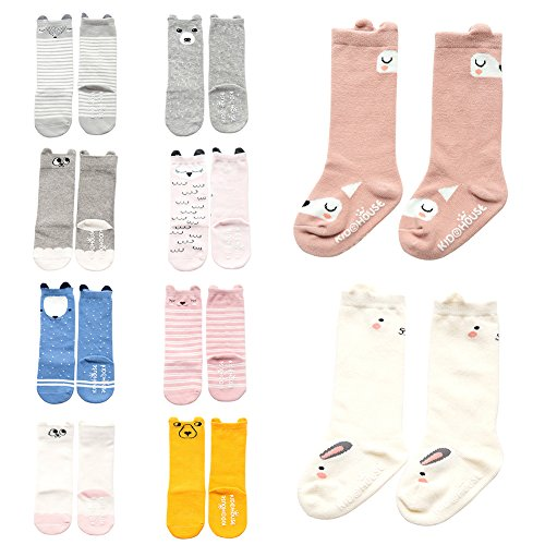 [Baby Toddler Girls Boys Cartoon Animal High Knee Socks Grip Sole Non-skid Leekey 10 Pairs stocking (M (2-4 Years), Animal 10 Pairs)] (Baby Wearing Elephant Costume)