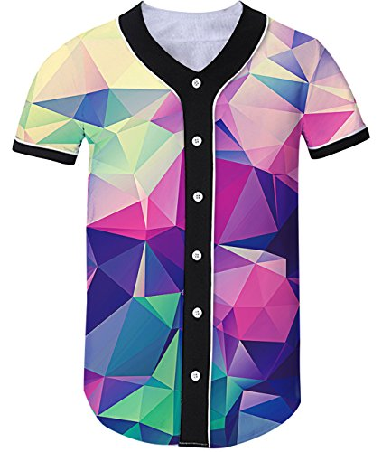Loveternal Unisex 3D Print Hipster Short Sleeve Full Button Baseball Jersey Shirts (Tag XL= US Large, Geometric (Geometric Print Jersey)
