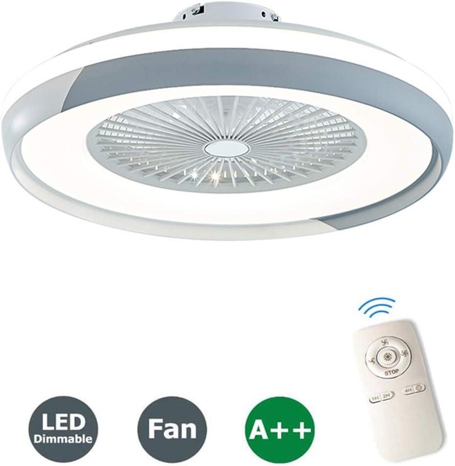 Luces De Techo Con Iluminación Creativa Ventilador Invisible Lámpara De Techo LED Control Remoto Regulable Silencioso Can Ventilador Lámpara De Araña Lámpara De Sala De Estar Moderna,Gris