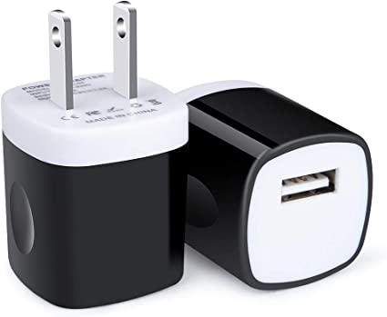 Phone USB Plug, Home Wall Charger 2 Pack 1Amp Single Port USB Charger Adapter Android Charging Head Fast Charger One Port Power Cube Charger Square