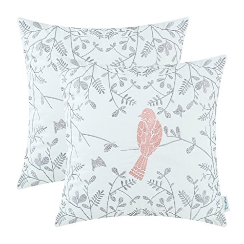 CaliTime Pack of 2 Cotton Throw Pillow Cases Covers for Bed Couch Sofa Cute Bird in Gray Garden Embroidered 18 X 18 inches Coral Pink from CaliTime