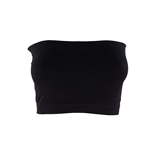d2ba79f50f5c7 Kathy Women s Strapless Bra Cropped Seamless Tube Top Stretch Sport  Bandeau-One Size-Black