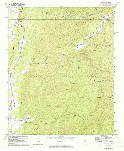YellowMaps Tennga GA topo map, 1:24000 Scale, 7.5 X 7.5 Minute, Historical, 1968, Updated 1973, 27 x 22.1 in - Tyvek (Cohutta Ga)