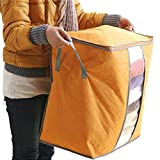 Dainzuy Colorful Clothes Portable Organizer Storage Bag, Non Woven Underbed Pouch Storage Bag Box (48X30X50cm) (Orange, 48X30X50cm)