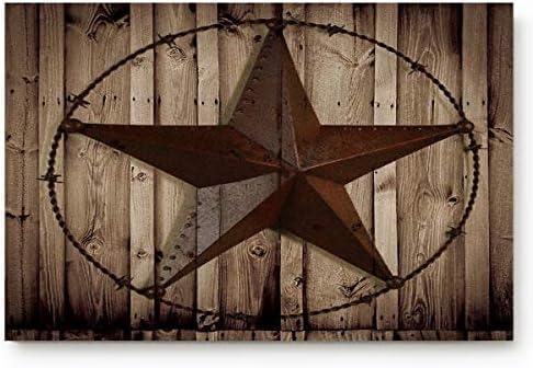 Indoor Doormat Super Absorbent Bath Mat Non Slip Shoes Scraper Entrance Rug Carpet,Western Texas Star 18 by 30-Inch