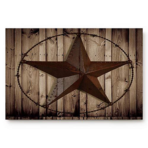 (SODIKA Indoor Doormat Super Absorbent Bath Mat Non Slip Shoes Scraper Entrance Rug Carpet,Western Texas Star Large 20 by 32-Inch)