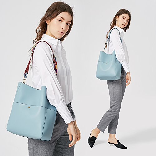 Review BOSTANTEN Women's Leather Designer Handbags Tote Purses Shoulder Bucket Bags Light Blue