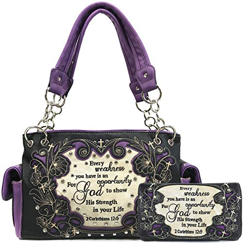 Justin West Embroidery Floral 2 Corinthians 12:9 Bible Verse Rhinestone Tote Shoulder Concealed Carry Handbag Messenger Purse (Purple Handbag Wallet Set)