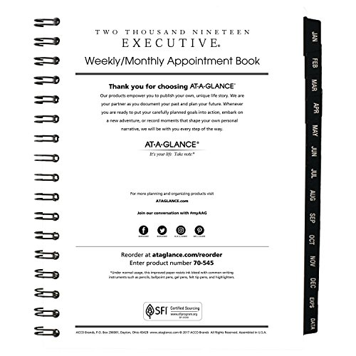 Books Appointment Wirebound Refills - AT-A-GLANCE Weekly/Monthly Appointment Book Refill, January 2019 - January 2020, 6-5/8 x 8-3/4, Executive (7090810)