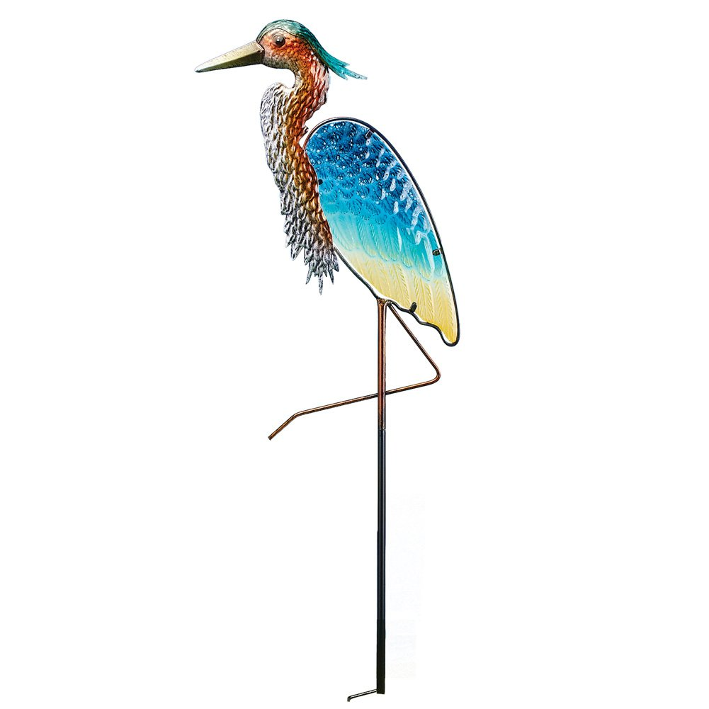 Collections Etc Glass Heron Decorative Metal Yard Stake Nautical Garden Art Sculpture