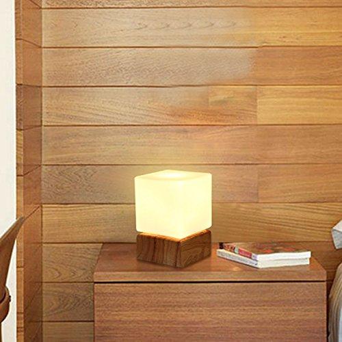 DENG Kreative Holz Holzschlafzimmerlampe Nachttischlampe einfach Wohnzimmer Studie Kinder Auge LED-Leuchten