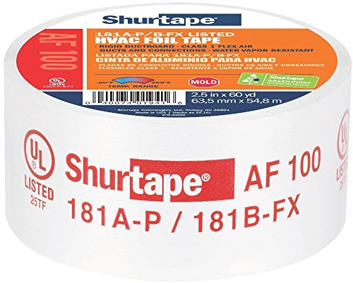 Shurtape AF 100 UL 181A-P/B-FX Listed/Printed Aluminum Foil HVAC Tape with EasyPeel Paper Liner, HVAC Joint Sealing Tape, 2.5'' x 60 Yards, Silver, 1 Roll (155206) by Shurtape (Image #2)