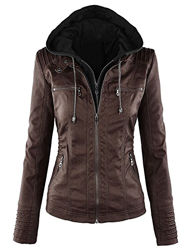 Springrain Women's Casual Stand Collar Detachable Hood PU Leather Jacket (Medium, Coffee)