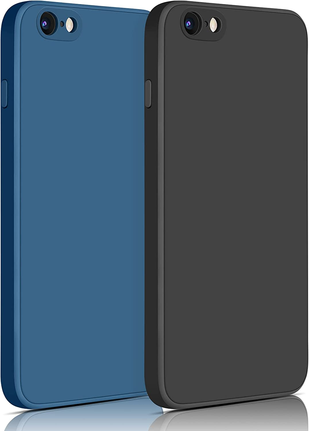 YILED 2 Pack Compatible with iPhone 6 / iPhone 6s Case,Silicone Slim Shockproof Phone Case for iPhone 6/6s,Soft Microfiber Lining,4.7 inch (03 Black+Navy Blue)
