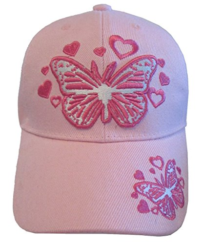 Kid's Youth Pink Butterfly Hat - Pink Baseball Cap (Girls Caps And Hats)