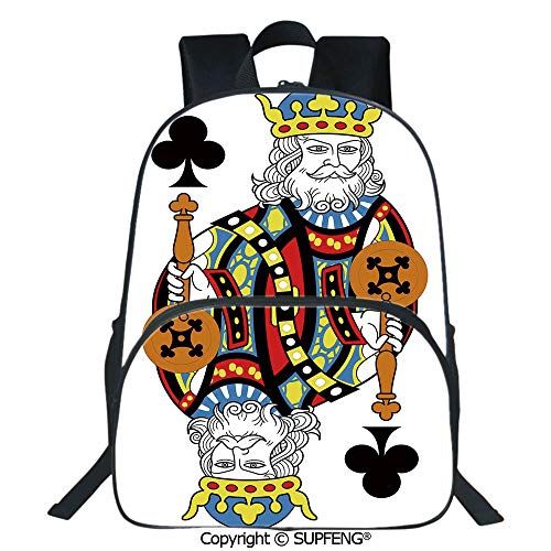 (SCOXIXI School Back King of Clubs Playing Gambling Poker Card Game Leisure Theme Without Frame Artwork (15.75