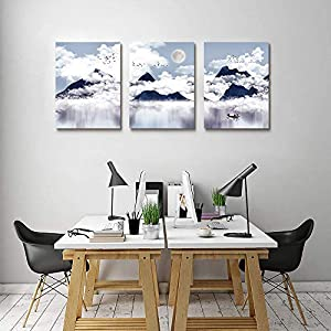 3 piece Framed Canvas Wall Art for Living Room bathroom Wall decor abstract Mountain Canvas pictures modern kitchen Bedroom Decoration Black and white landscape painting Artwork for home walls art